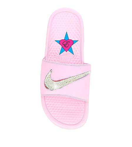 13d41f23f3f64 Amazon.com: Sale Bedazzled Pale Pink Nike Benassi JDI Slides: Handmade