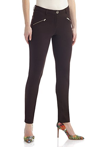 Rekucci Women's Knit 5 Pocket Modern Skinny Pant w/Zippers (Large,Brown) ()