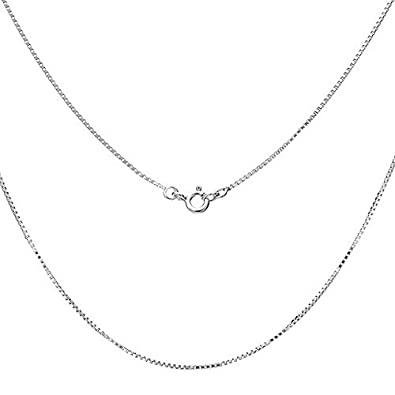 Necklace Chain 16'' 20'' 30'' 925 Sterling Silver 1MM Necklace Box Chain, Ultra Thin & Strong &Durable, Suitable for Various Pedants ATMOKO
