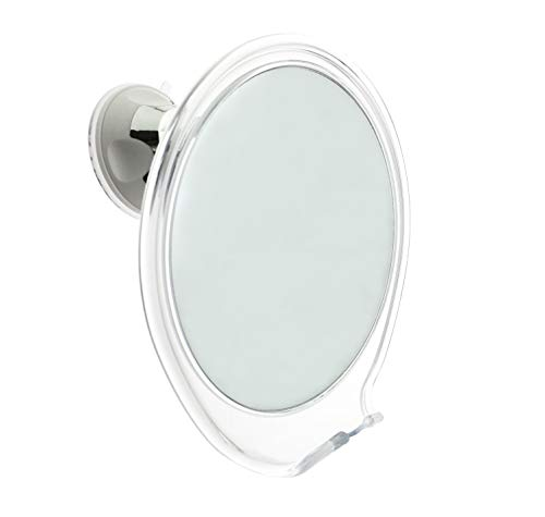 JiBen Fogless Shower Mirror with Power Locking Suction Cup, Built-in Razor Hook and 360 Degree Rotating Adjustable Arm, Personal Fog Free Bathroom Shaving Mirror (Clear)