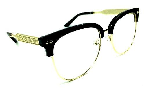 Horn Rimmed Clubmaster Half Frame Metal & Plastic Eyeglasses / Clear Lens Sunglasses (Black & Gold Frame, - Snapback Glasses And