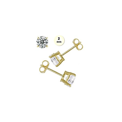 14K Yellow Gold Stud Earring For Kids Aprx .24 Carat Total Weight, 2mm Each Round Simulated Diamond Earring. Set on Prong Setting & Friction Style (0.24 Ct Earring)