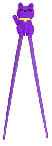 Authentic Japanese Purple Lucky Cat Training Cheater Chopsticks for Kids and Beginners, 7 Inch