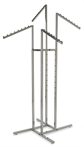 (Only Garment Racks #2233 Clothing Rack - Heavy Duty Chrome 4 Way Rack, Adjustable Arms, Square Tubing, Perfect for Clothing Store Display With 4 Slanted Arms)