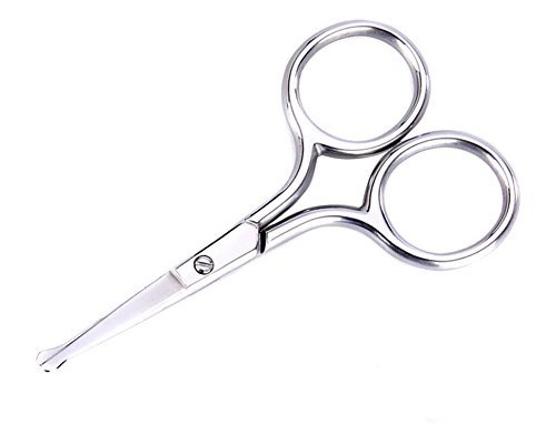 Polished Stainless Steel Safety Rounded Tip Personal Care Scissor Makeup Scissors Tool for Great For Trimming Nose Hair/ Ear Hair/Eyelashes/Eyebrows/Beards and Mustaches