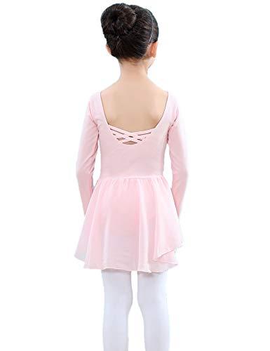 - Kidsmian Little Girls Chiffon Long Sleeve Dance Ballet Dress Leotard with Irregular Skirt (Ballet Pink, 120(Age for 3-4T))