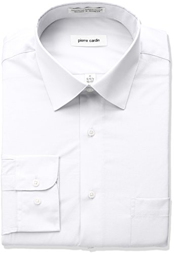 Pierre+Cardin+Men%27s+Classic+Fit+Solid+Broadcloth+Semi+Spread+Collar+Shirt%2C+White%2C+16%22-16.5%22+Neck+32%22-33%22+Sleeve