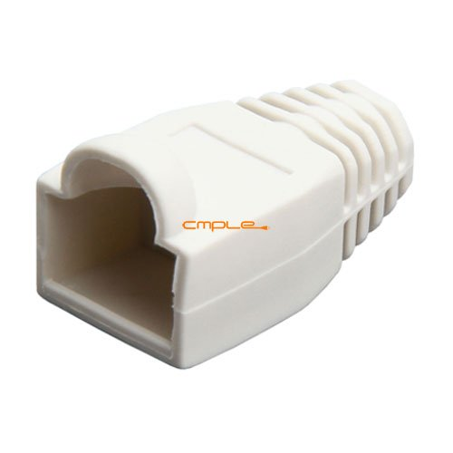 Cmple RJ-45 Strain Relief Boots for CAT5/5E/6 Ethernet LAN Cable Connector Cover Color White (Pack of 50)