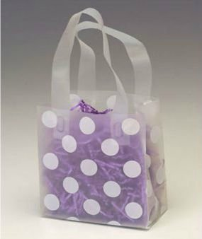 Dot Pattern Shopping Bags   White Dots Clear Frosted Flex Loop Shoppers  100 Bags    Bows 268 060306 Dotc