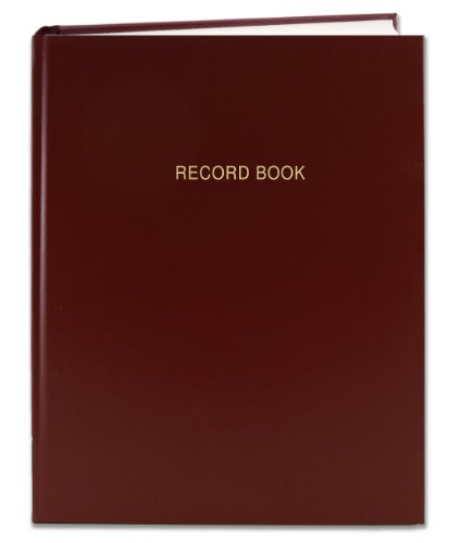 BookFactory Burgundy Record Book/Record Notebook - 312 Pages, 8'' x 10'', Burgundy Cover, Smyth Sewn Hardbound (RA-312-SRS-A-LMT15) by BookFactory