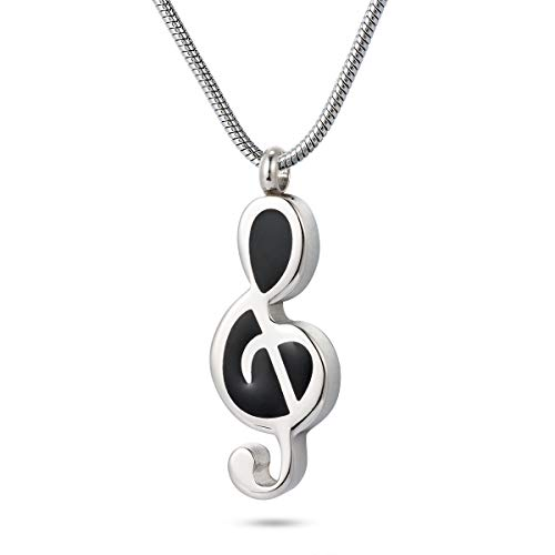 GIONO Cremation Jewelry Music Note Urn Pendant Memorial Ash Keepsake Stainless Steel