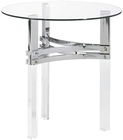 Signature Design by Ashley - Braddoni Contemporary Round End Table, Chrome Finish