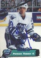 Autographed Edge Collectors Card (Patrice Tardif Worcester Icecats 1995 Collectors Edge Ice Autographed Card - Rookie Card. This item comes with a certificate of authenticity from Autograph-Sports. Autographed)