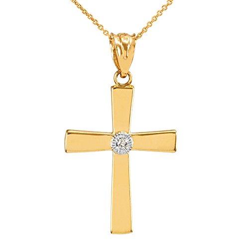 Collier Femme Pendentif 10 Ct Or Jaune Croix avec Diamant (Livré avec une 45cm Chaîne)