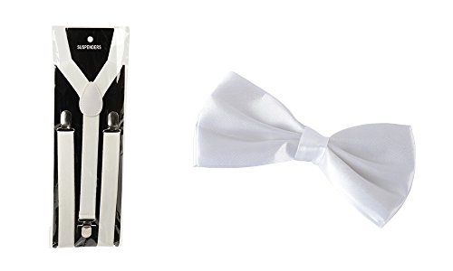 Jazz Era Costumes - Jazz Era 1920's Costume White Suspenders & Clip On Bow Tie Bundle 2 Piece Set