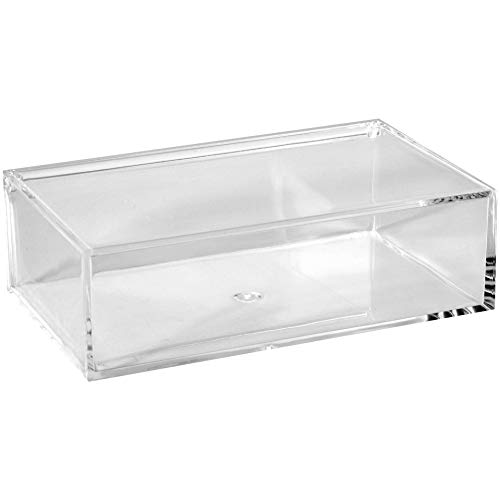 (Clear Lucite Plastic Storage Box with Hinged Lid- Acrylic Boxes For Wedding, Party Favor, Treats, Candy Mini Gifts, Sewing Set, Cosmetic Organizer 6.3''x3.94''x1.97'' (2)