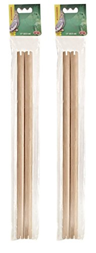 (2 Pack) Living World Wooden Perch, 19 Inch, 2 Perches each