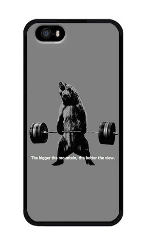 iPhone 5 Case,iPhone 5S Case,VUTTOO Stylish Bear Lifting Weights Quote Soft Case For Apple iPhone 5/5S - TPU Black