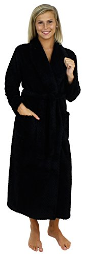 Sleepyheads Women's Jacquard Plush Fleece Long Robe Black (SH1400-1011-XL)