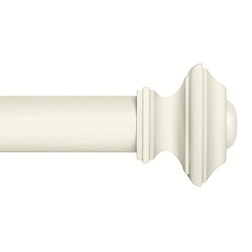 Drapery Window Curtain Rod Set - Ivilon Square 1 1/8 inch diameter 72 to 144 Inch. Ivory / White (Wide For Rods Windows Drapery)