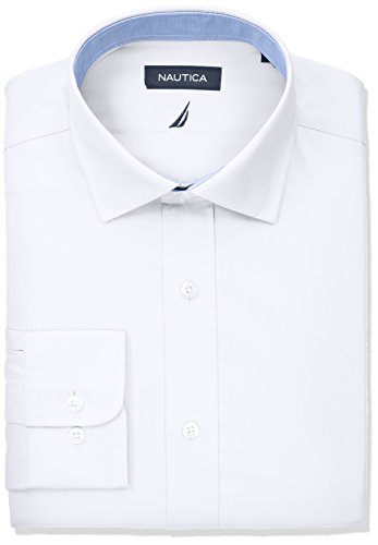 (Nautica Men's Classic Fit Spread Collar Dress Shirt, White Poplin 17 34/35)