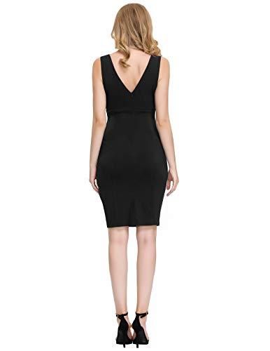 GRACE KARIN Women's Sleeveless V-Neck Pleated Business Cocktail Pencil Dress