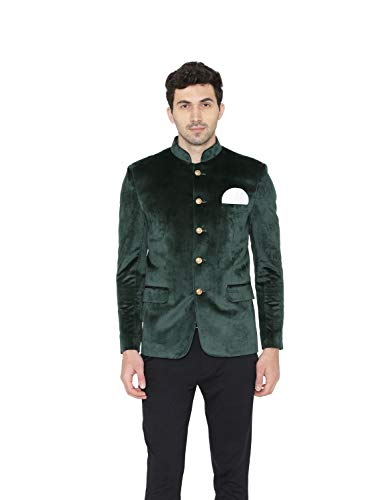 - WINTAGE Men's Cotton Velvet Solid Mandarin Collar Ethnic Bandhgala Jodhpuri Blazer : Green, 44/XL