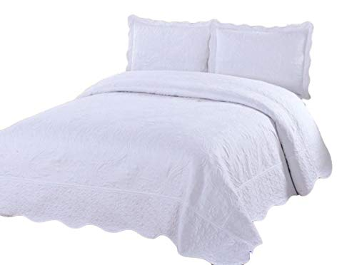 sazana California King Size Quilt 3 Piece Bedding Bed Set/Bedspread / Embroidered / 2 Pillow Shams ()