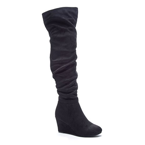 Chinese Laundry Women's Ultra Wedge Boot, Black Suedette,  6.5 M US
