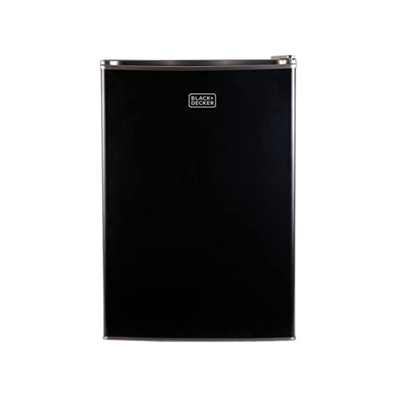 BLACK+DECKER BCRK25V Compact Refrigerator Energy Star Single Door Mini Fridge with Freezer, 2.5 Cubic Feet, VCM 3 2 Full Width Glass Shelves 2 Full Width Door Shelves accommodate 2 Liter and Tall Bottles Adjustable Thermostat Control and Leveling Legs offer ultimate versatility