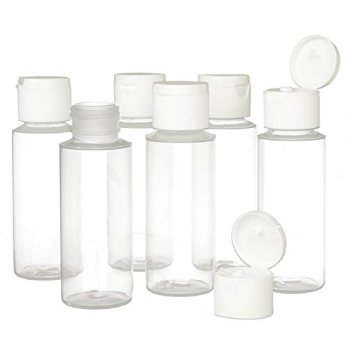 2oz Clear Plastic Empty Bottles with Flip Cap - BPA-free - Set of 6 - TSA Travel Size 2 Ounce - By Chica and Jo 2 Ounce Travel Bottle