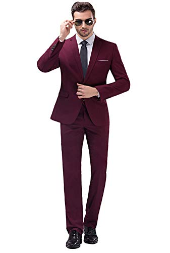 Mens Business Suit - YIMANIE Men's Suit Slim Fit One Button 2 Piece Suit Tuxedo Business Wedding Party Casual (Large, Wine Red)