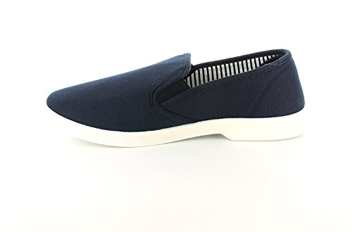 NEW Homme/Homme Bleu Marine Dr Keller Yacht sur toile antidérapant chaussures Coupe Large–Bleu Marine–Tailles UK 6–11