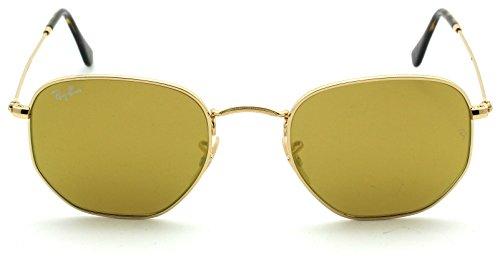Ray-Ban RB3548N HEXAGONAL FLAT LENSES Mirrored Sunglasses 001/93, - Ray Ban Lenses Yellow