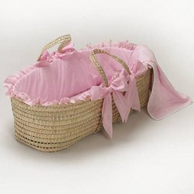 Babydoll Gingham Moses Basket, Pink by BabyDoll Bedding