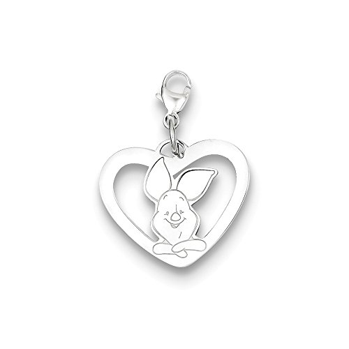 - Roy Rose Jewelry Sterling Silver Disney Piglet Heart Lobster Clasp Charm Necklace Complete with 18