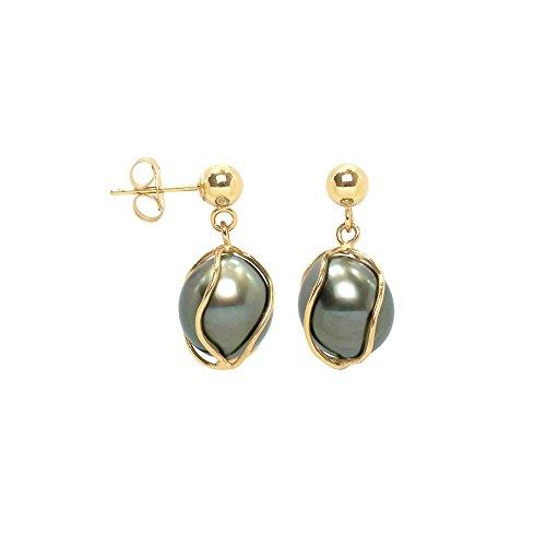 Boucles d'Oreilles Perle de Tahiti et or jaune 750/1000 -Blue Pearls-BPS K347 W