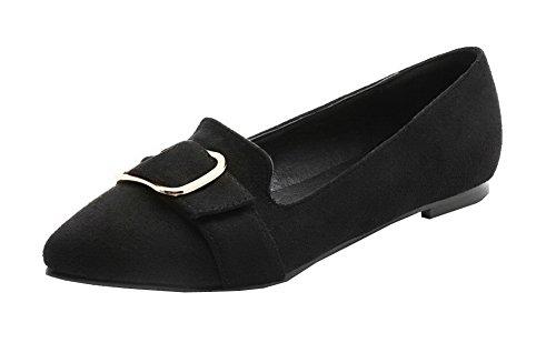 Tacón Zapatos Cordones Sólido Puntera Cerrada Mujeres Sin De Aalardom Negro Plano Esmerilado qwxp8vp1X
