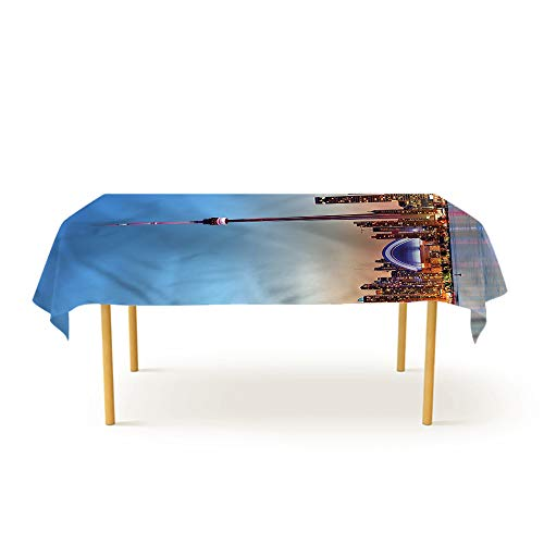HOMEDECORATIONS Printed Tablecloth Modern,Canadian Sky Toronto City Patio Rectangular Table Cover 70 X 120 inch (Restaurants Toronto Best Patio)