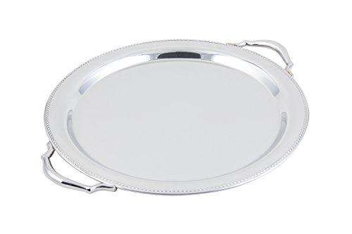 Border Platter (Bon Chef 61335 Stainless Steel Serving Round Tray with Handle, Etching and Bead Border, 15