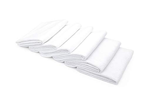 (THE RAG COMPANY (6-Pack) 16 in. x 27 in. Spa, Gym, Yoga, Exercise, Fitness, Sport and Workout Towel - Ultra Soft, Super Absorbent, Fast Drying 365gsm Premium Weight Microfiber Terry)