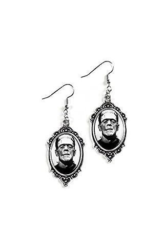 Frankenstein 18x25mm Cameo Glass Silver Filigree Earrings (Frankenstein Cabochon)
