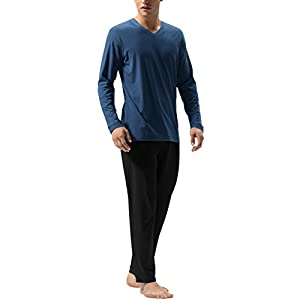DAVID ARCHY Men's Cotton Sleepwear Tall PJs Long Johns Pajamas Set