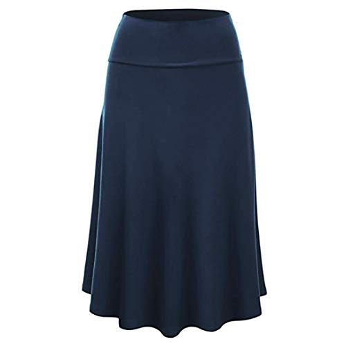 Jinjin Womens Skirt - High Waist Uniform Pleated Solid Midi Skirt with Flare Hem (Blue, XXXL) by Jinjin