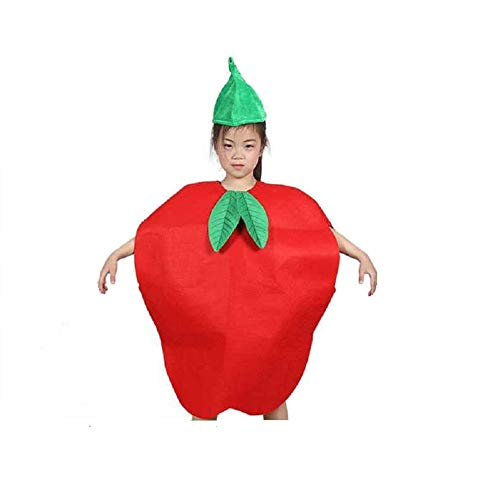 Kids Fruits Vegetables and Nature Costumes Suits Outfits Fancy Dress Party Boys and Girls (Red Apple) -