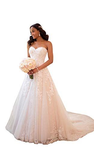 Women's Sweetheart Beaded Lace A Line Princess Wedding Dresses Chapel Train Bridal Gown Ivory US16