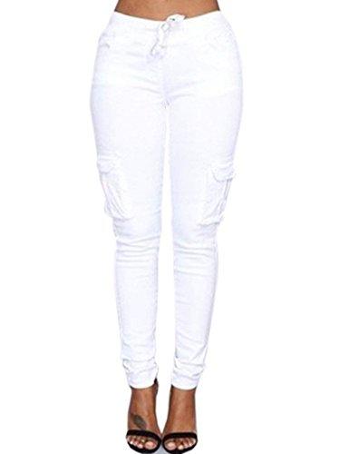 Eleganti Pantaloni di Slim Tempo Donna Lunga Vita Di Bianca Con Jogging Interna Primaverile Pantaloni Libero Coulisse Con Multi Tasca Pantaloni In Mode In Fit Alta Autunno Elastico marca Vita Accogliente wrYqIrRZX