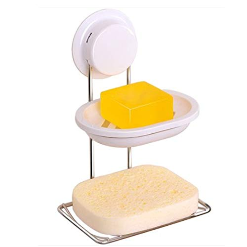 ZRW Bathroom Soap Holder, Bar Soap Holder for Shower, Rustproof Stainless Steel Sponge Holder for Bathroom, Suction Cup Soap Dish