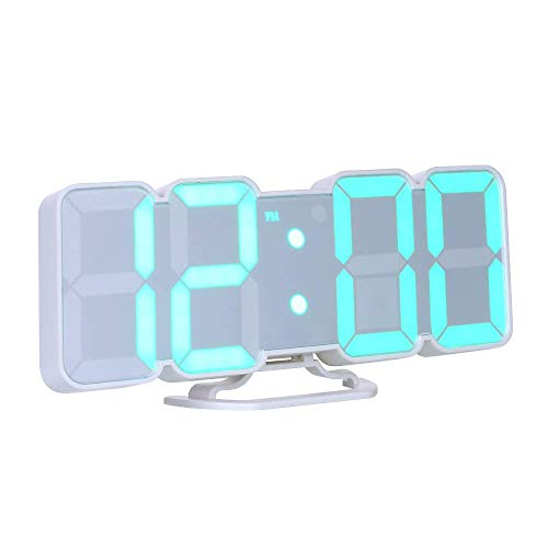 Decdeal Alarm Clock 3D Wireless Remote Digital RGB LED Clock USB Powered Time/Temperature/Date Display 115-Color Changing 3-Level Brightness Sound Control Wall Desktop Clock Product Name