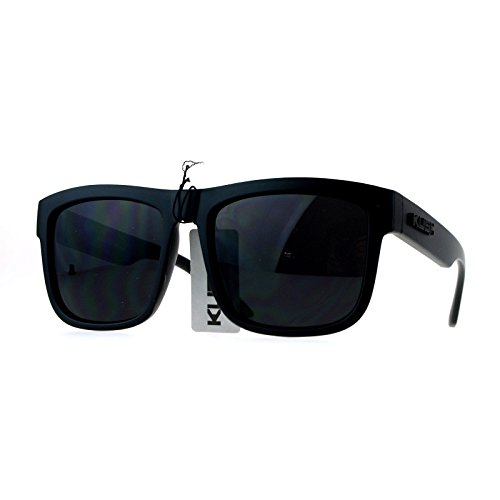 Kush Mens All Black Gangster Oversize Horn Rim Cholo Sunglasses - Black Men Sunglasses